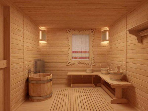 У новій бані дерев'яні підлоги