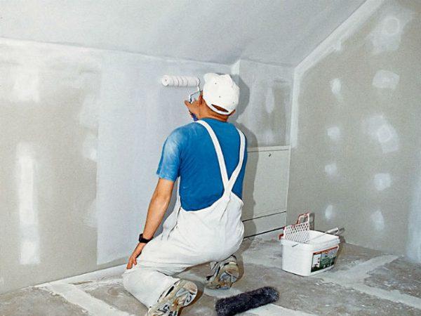 Грунтування гіпсокартонних стін