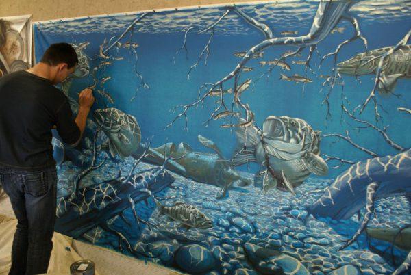 Художній розпис стіни акриловою фарбою