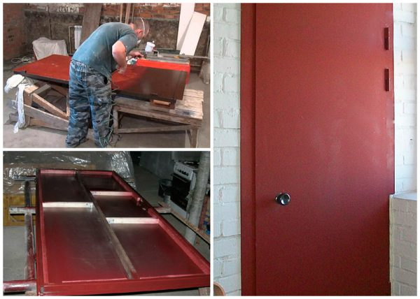 Процес нанесення фарби на двері
