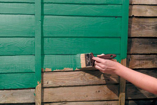 Фарбування дерев'яних стін зовні будинку