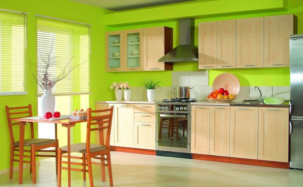 Кухня пофарбована в яскравий колір