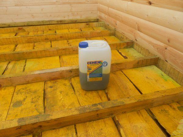 Засіб для обробки підлоги в лазні