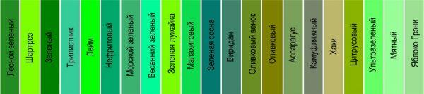 Відтінки зеленого кольору