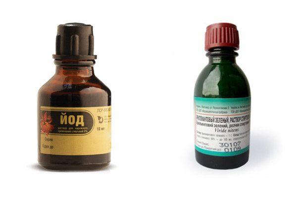 Аптечні барвники - зеленка і йод